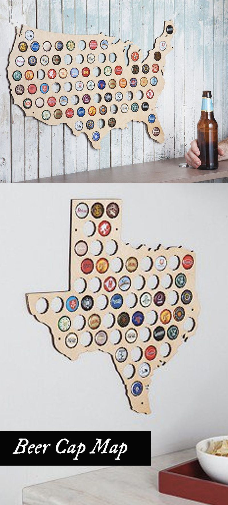 Beer Cap Trap Creates Laser Cut Wooden Wall Maps Made To Display The Caps Of