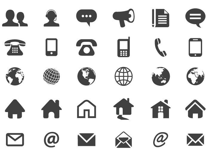 image result for symbols email  phone