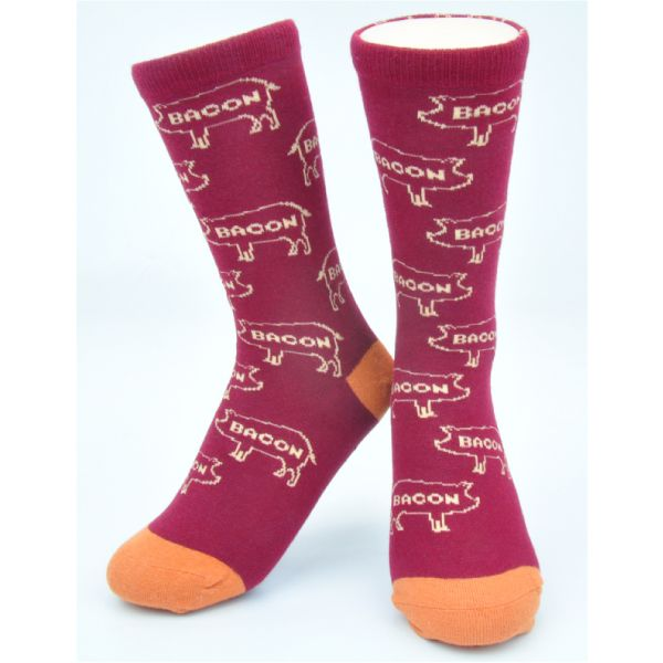 Burgundy//Tan Designer Cotton Socks Organic Neon Eaters Arrows Pattern Socks Cute Fashion