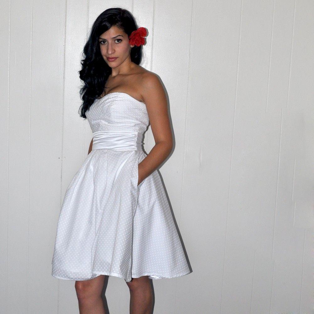 White polka dot dottieus wedding dresswith by missbrache on etsy