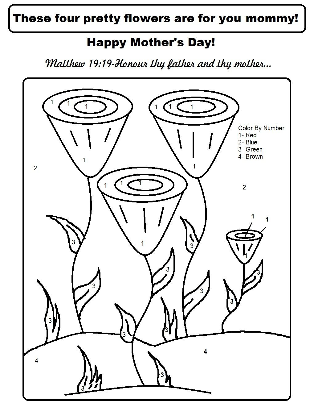 Mothers day coloring sheets for sunday school - Mother S Day Color By Number Jpg 1 019 1 319 Pixels