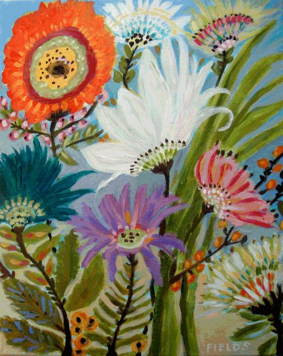 Whimsical abstract flowers art print by by for Abstract art flowers paintings