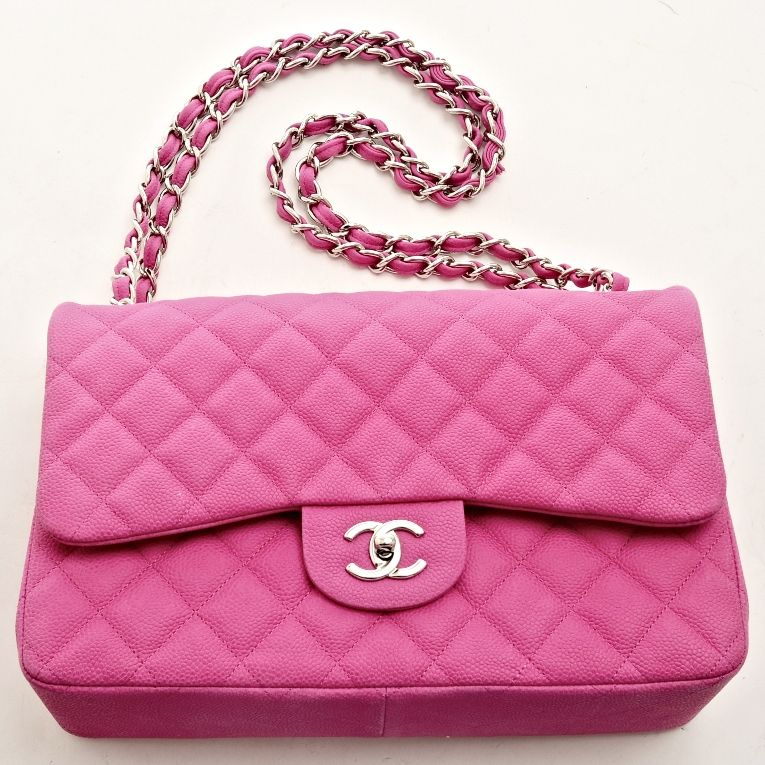 617756f6f816 Chanel Hot Pink Matte Quilted Caviar Jumbo Classic 2.55 Double Flap ...