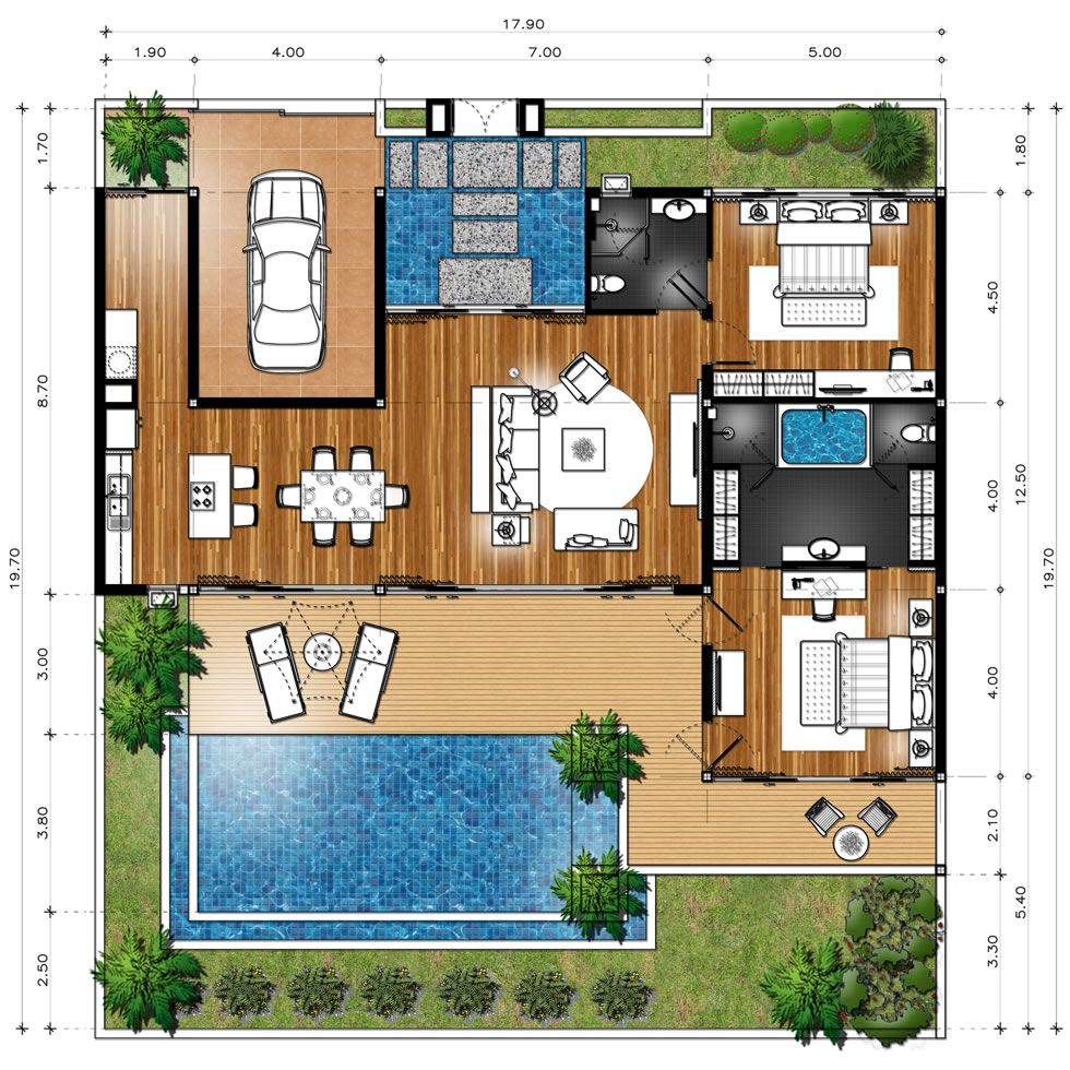 Master plan villa type b dream homes pinterest for Pool villa design