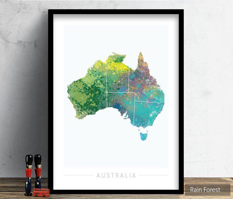Australia map country map of australia art print etsy