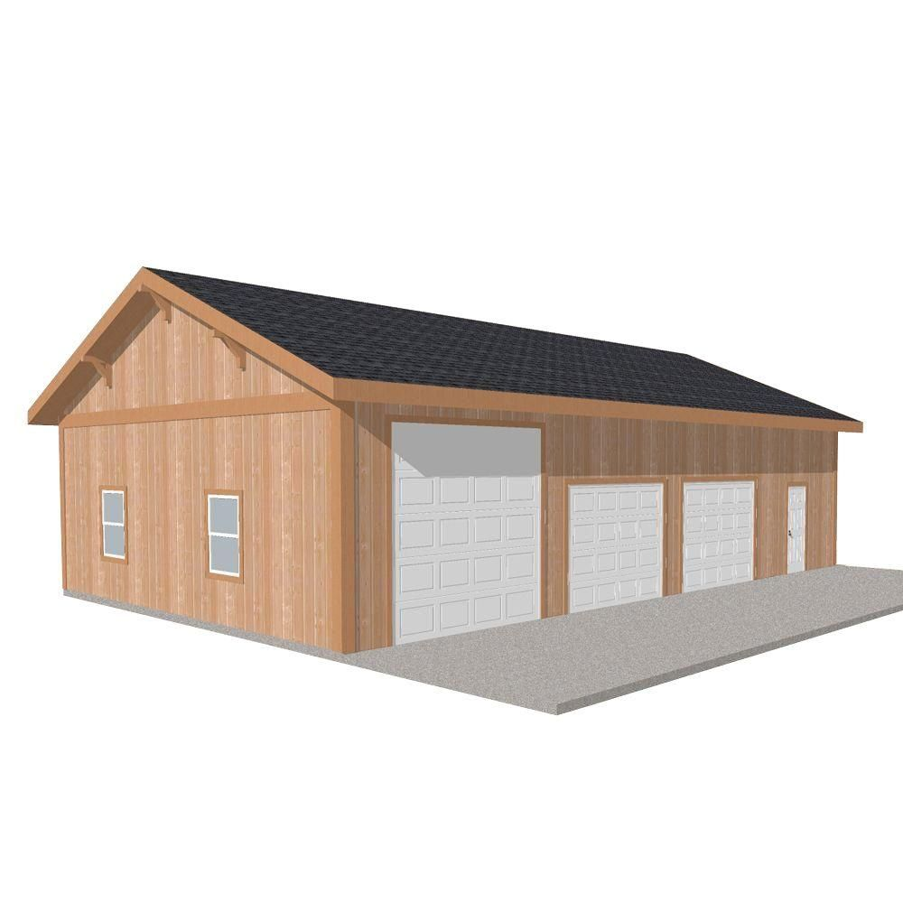 Barn Pros Workshop 50 Ft X 30 Ft Engineered Permit Ready Wood Garage Package Installation Not Included Thd Bp3050ws The Home Depot Garage Packages Garage Installation Home