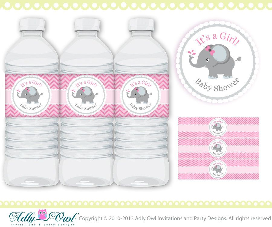Pink Grey Girl Elephant Baby Shower Water By