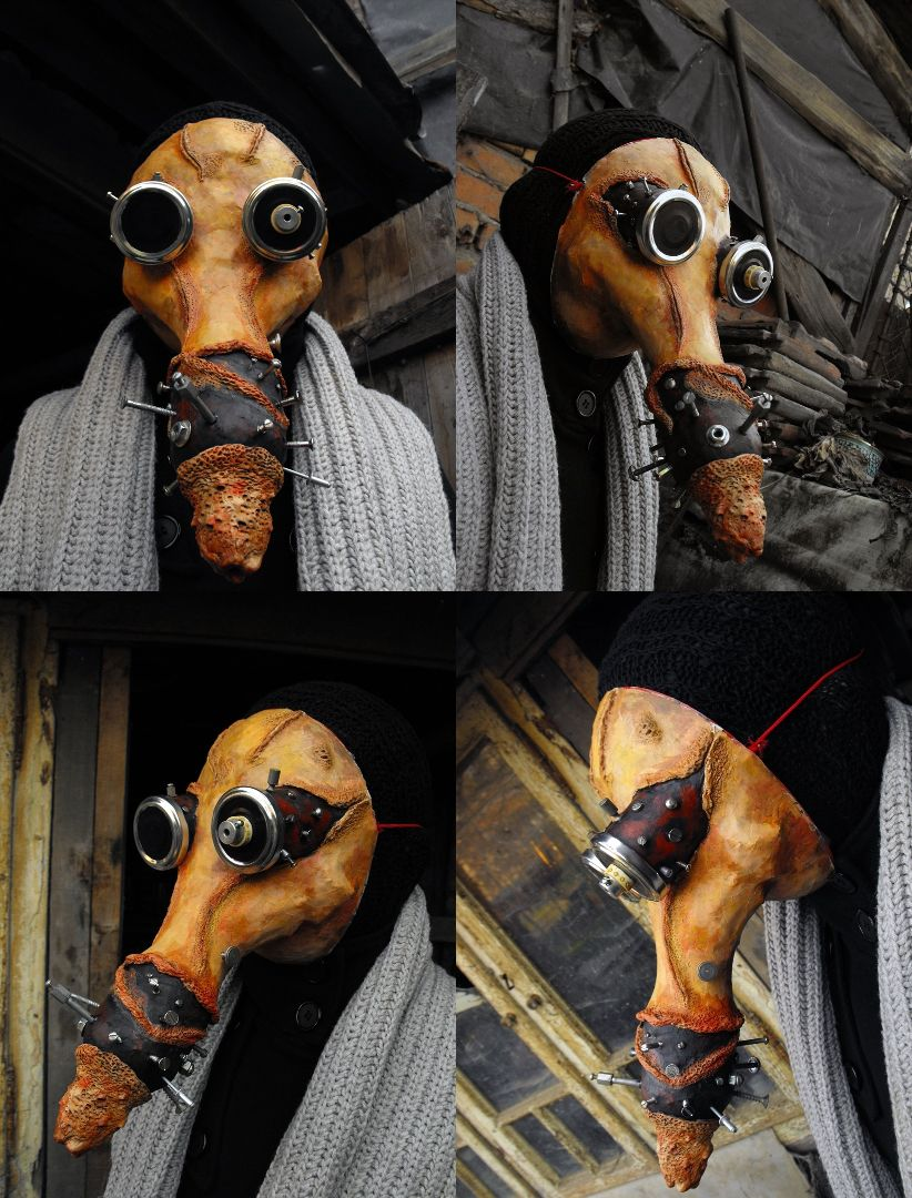 Plague Doctor Mask ,dark red brown leather full face hand sewn ...