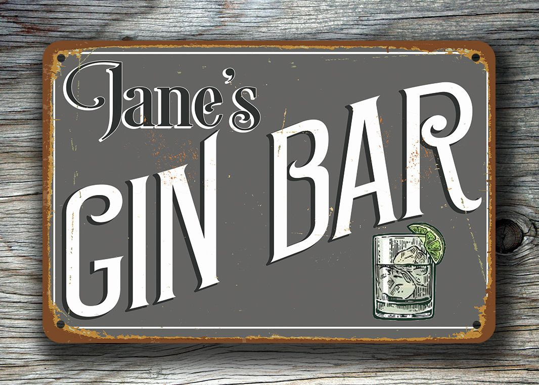 Pub Man Cave Home Bar Garden Sign Gin Bar Sign Personalised Hanging Bar sign