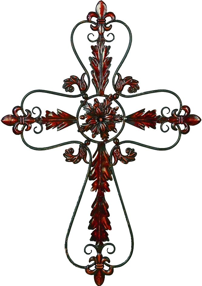 Tuscan metal cross with Fleur de Lis accents
