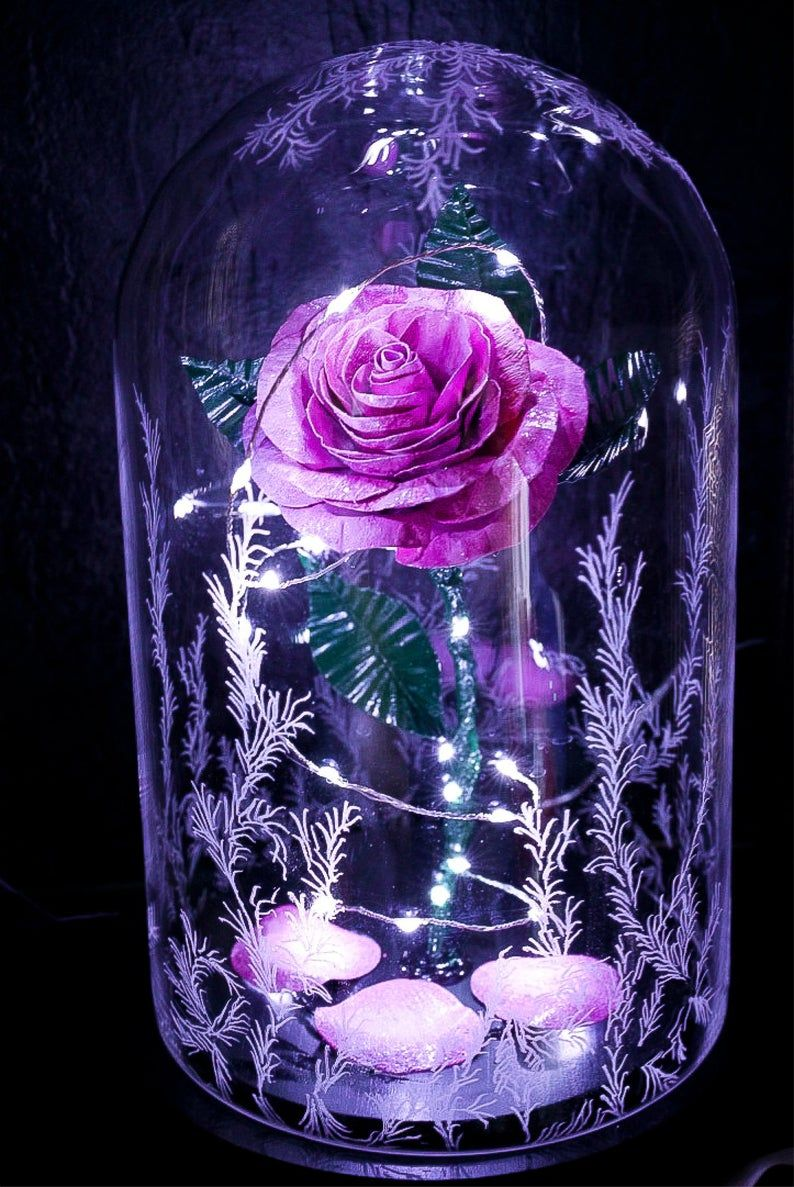 Beauty And The Beast Rose Glass Dome Pink Metal Forever Etsy Beauty And The Beast Wallpaper Cute Galaxy Wallpaper Beautiful Flowers Wallpapers