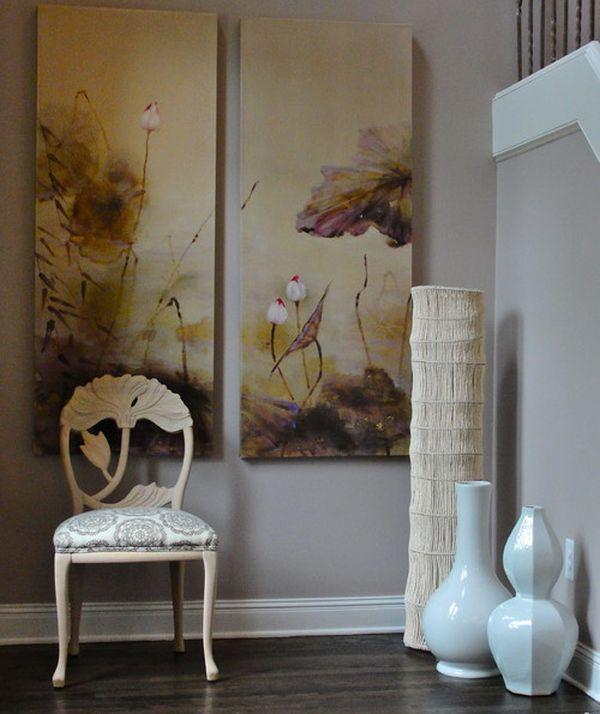 large white floor vases combine with existing decor and wall art to create an asian - Vase Design Ideas