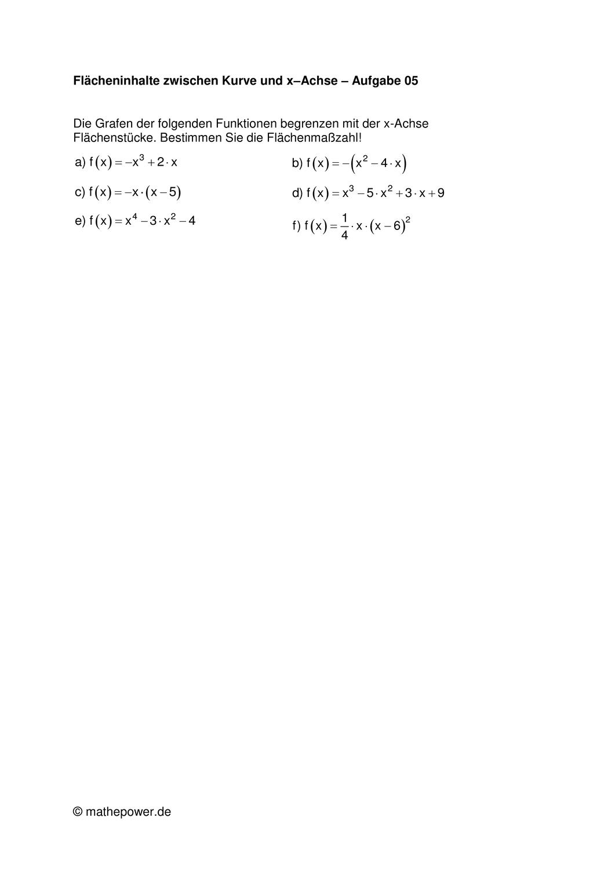 Flacheninhalt Zwiscehn Kurve Und X Achse 5 Unterrichtsmaterial Im Fach Mathematik In 2020 Flacheninhalt X Achse Mathematik Bucher