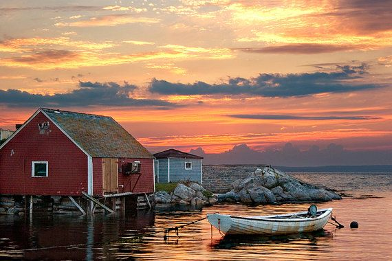 Peggy S Cove Print Red Sunset Art Print Fishing Harbor Fishing