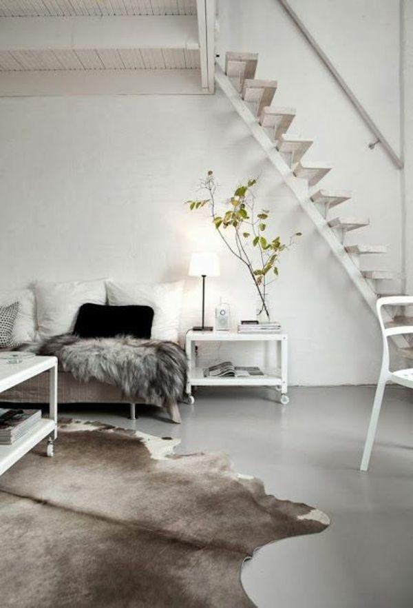 wohnzimmer skandinavisch einrichten kuhfell teppich | wohngzimmer