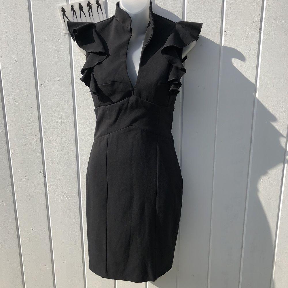 Necessary Objects Black Women S Empire Waist Ruffle Neck Knee Length Dress Xs Necessaryobjects Empirewaist Anyoccasion