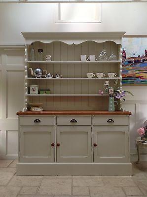 Hand Painted Dresser Cream Solid Pine Welsh Sideboard Kitchen Unit Ebay