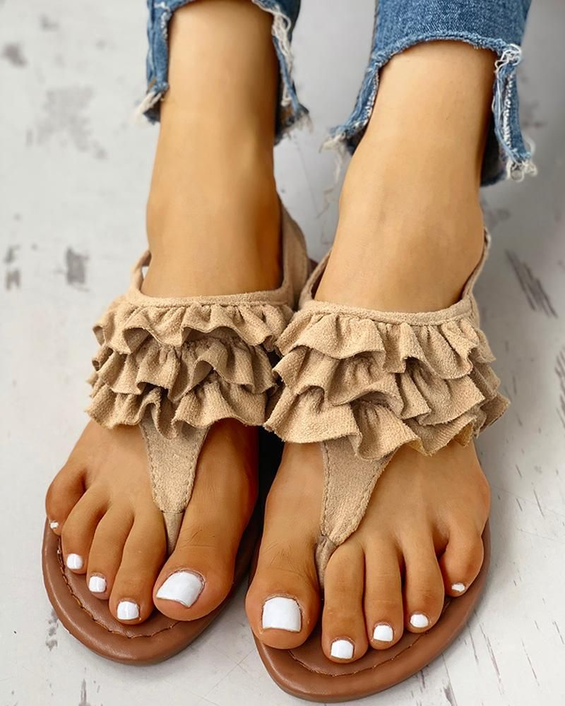 Toe Post Ruched Frill Hem Casual Sandals Toe Post Ruched Frill Hem Casual Sandals Price  2699 Free Shipping  30 days Easy Return