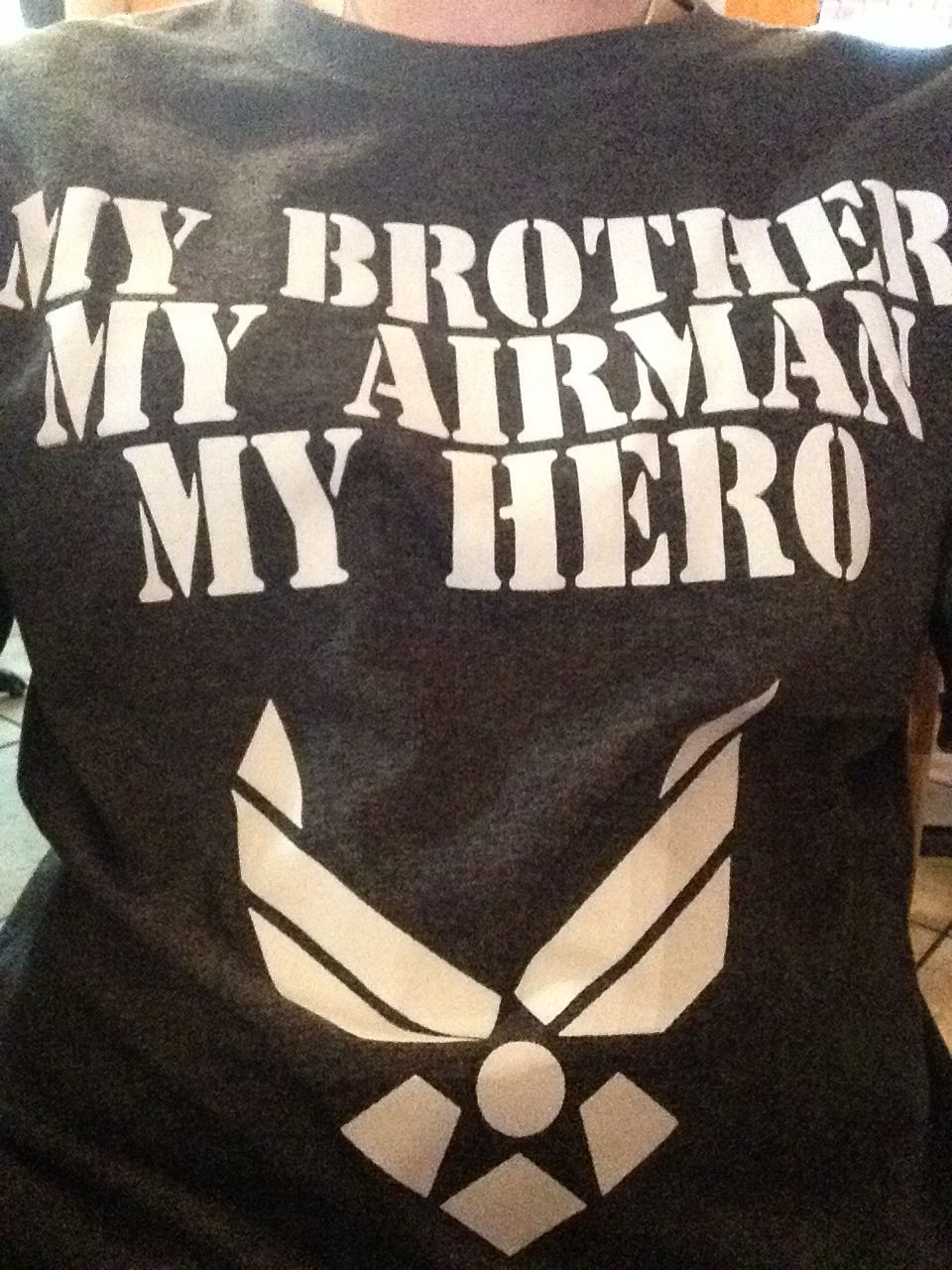 Cute air force shirt... Twin bros...sister shirt says