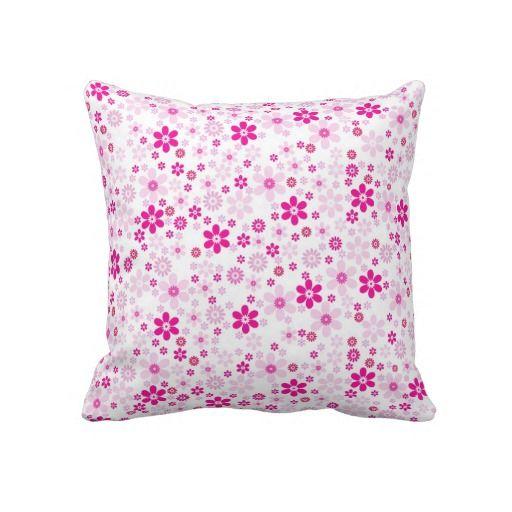 Cute white pink floral flowers background design throw pillow #zazzle #throwpillows #pillows