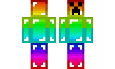 Minecraft Skin Backwards Rainbow Creeper Skins De Minecraft Minecraft