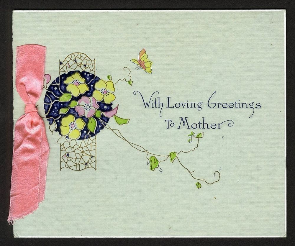 MOTHER'S DAY Art Deco Open Up Greeting Card c 1920's UNUSED Satin Pink Ribbon | eBay