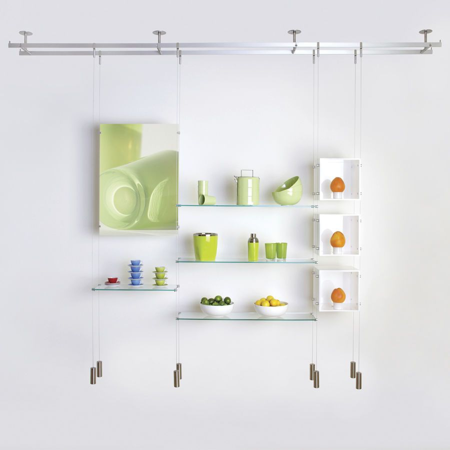 Suspended Shelving System Cable Shopkit Shelves Glass