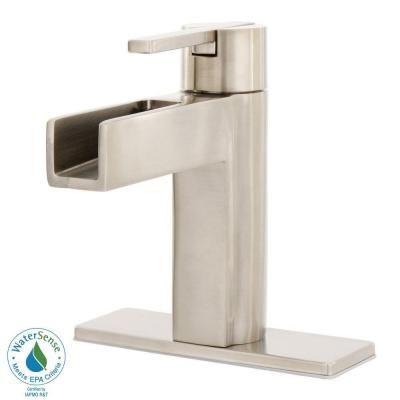 Centerset Single Handle Waterfall Bathroom Faucet In Brushed Nickel