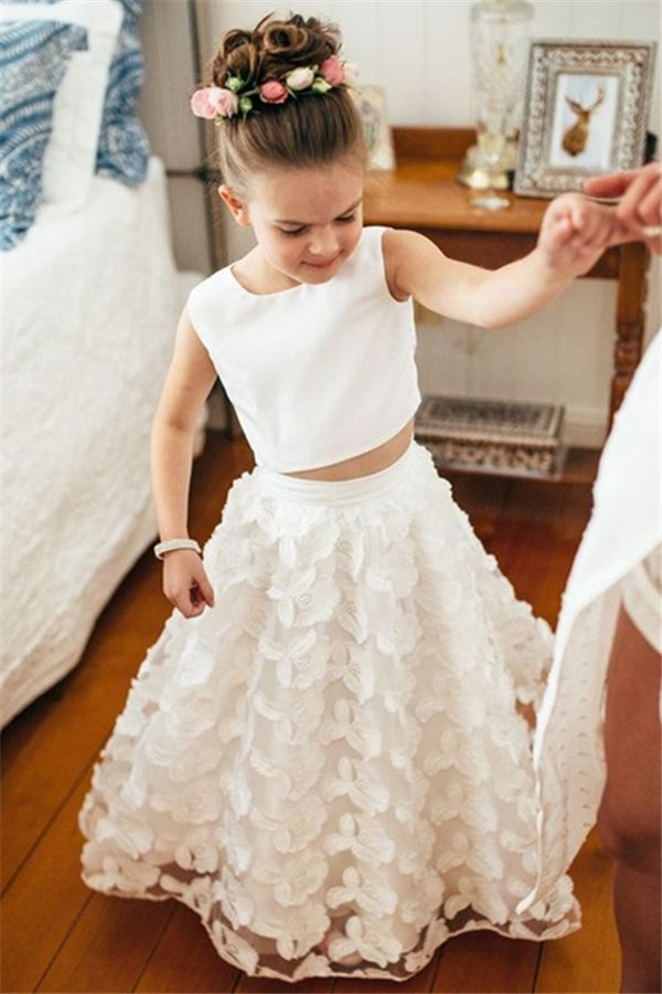 Two Piece Jewel Ankle-Length White Lace Flower Girl Dress ... 0b8e10b97685