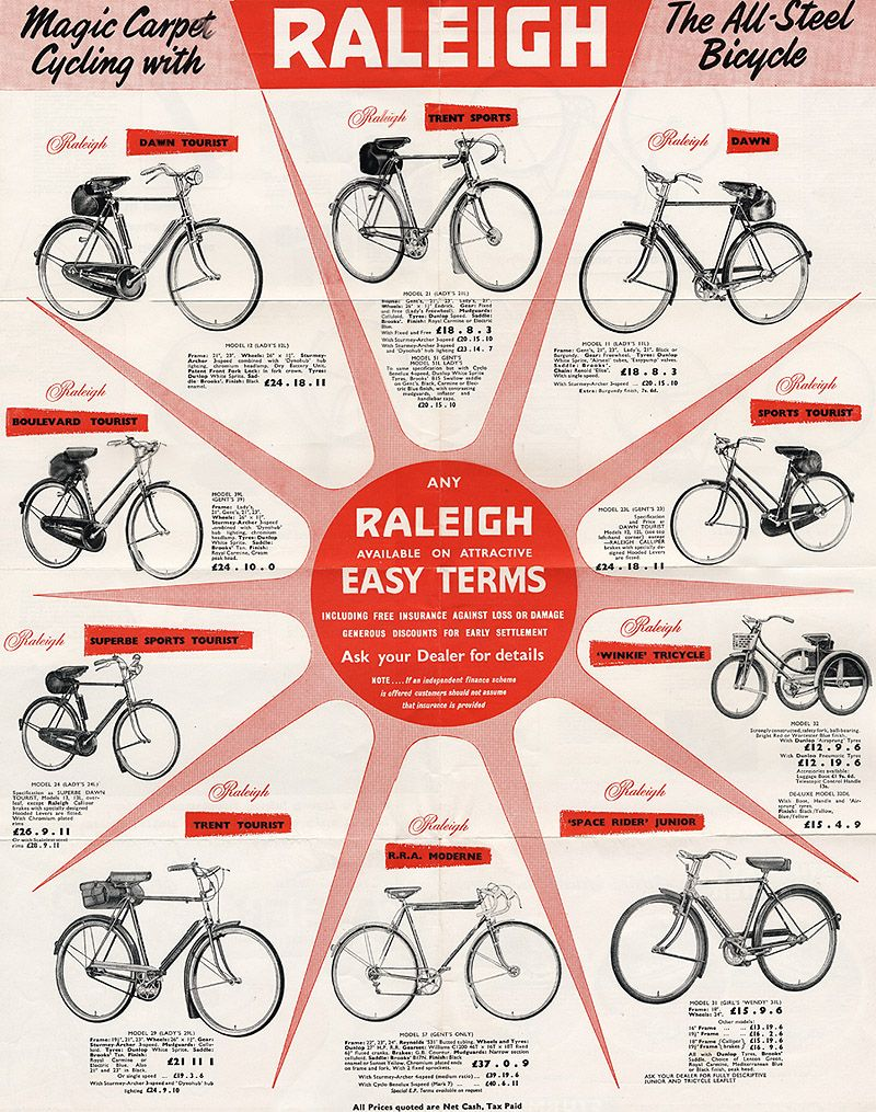 Raleigh Bicycle Catalog For 1958 Raleigh Bicycle Raleigh Bikes