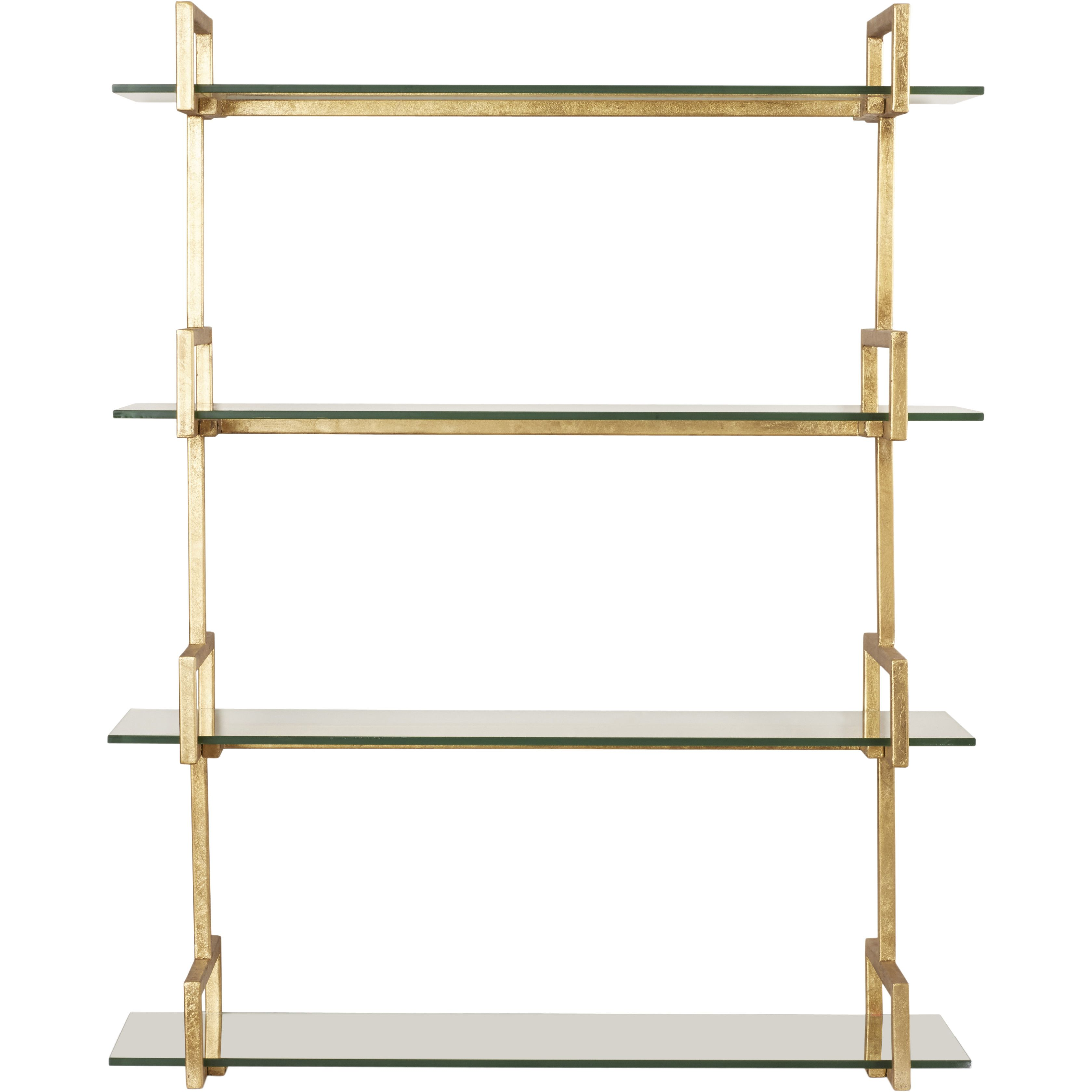 features iron frame finished in antiqued gold leaf tempered glass shelves