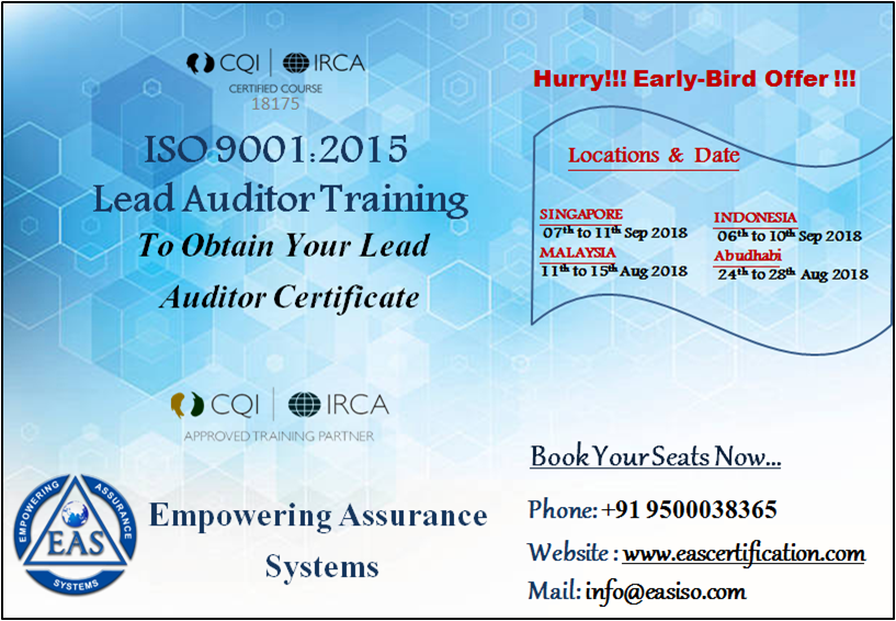 ISO Lead Auditor Course Occupational health and safety