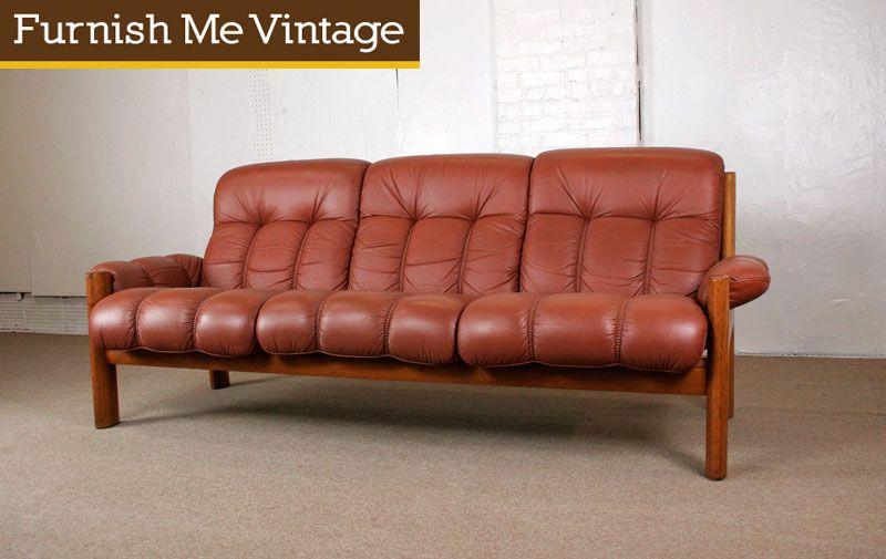 Marvelous Vintage Ekornes Norwegian Modern Teak U0026 Leather Sofa