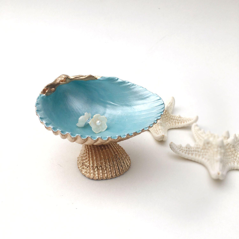 Seashell Dish Shell Soap Jewelry Beach Bathroom Ring