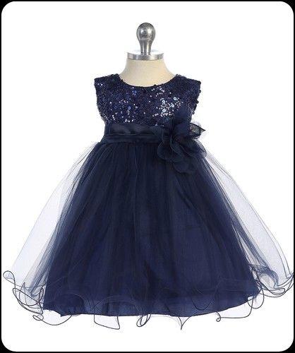 Kid's Dream Girls Navy Formal Party Dress w. Sequin Bodice & Double Ruffled Hem