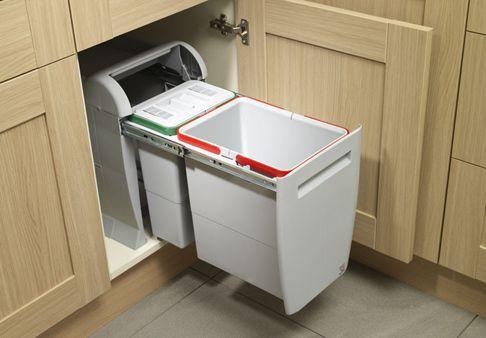Apartment, White Kitchen Trash Can: Kitchen Design Ideas
