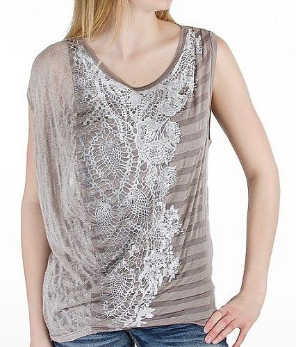 Miss Me Size Small Dusty Grey Pieced Tank Top NWT #MissMe #Blouse