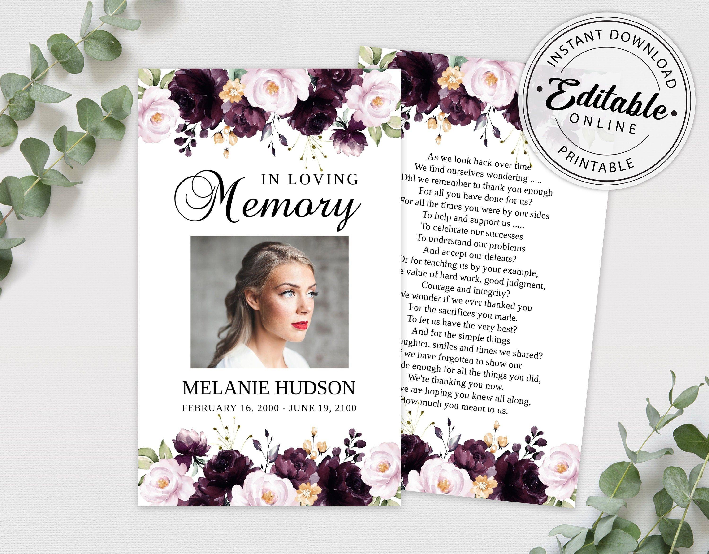 Editable Funeral Prayer Card Template Printable Memorial Etsy Prayer Cards Funeral Prayers Funeral Program Template