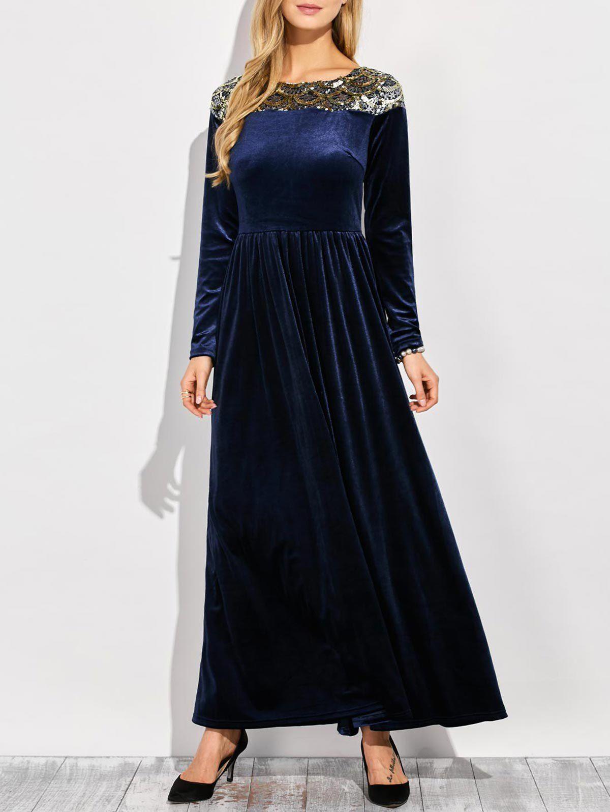 Embellished Long Sleeve Maxi Velvet Dress Robe Pinterest