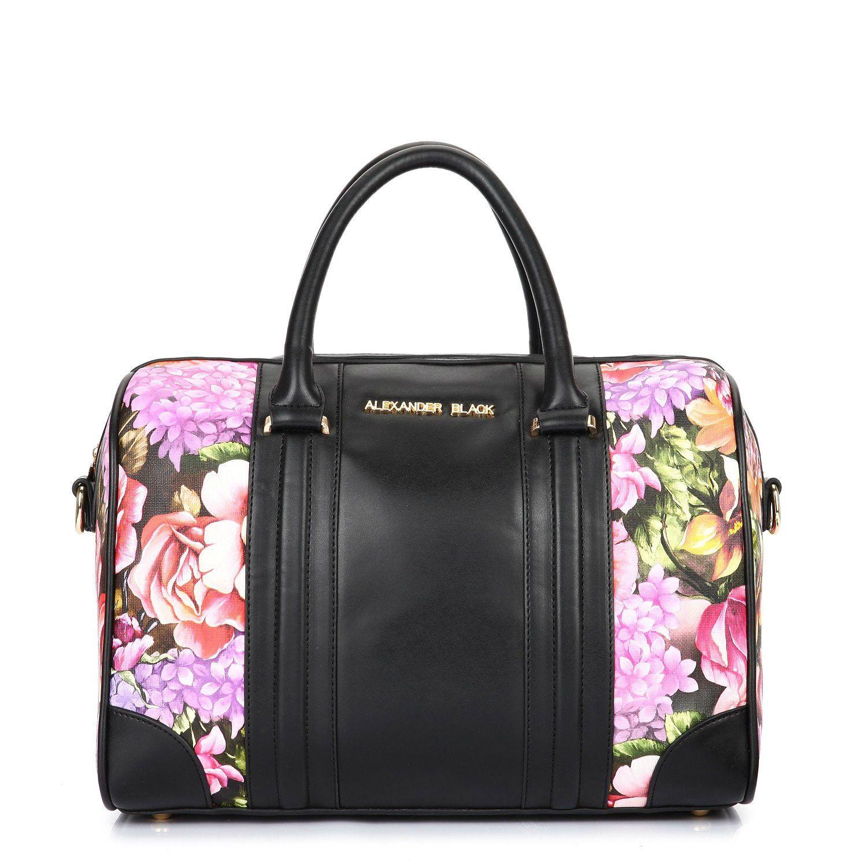 Alexander Black Hetty Floral Bowler Tote Bag from Bag Envy