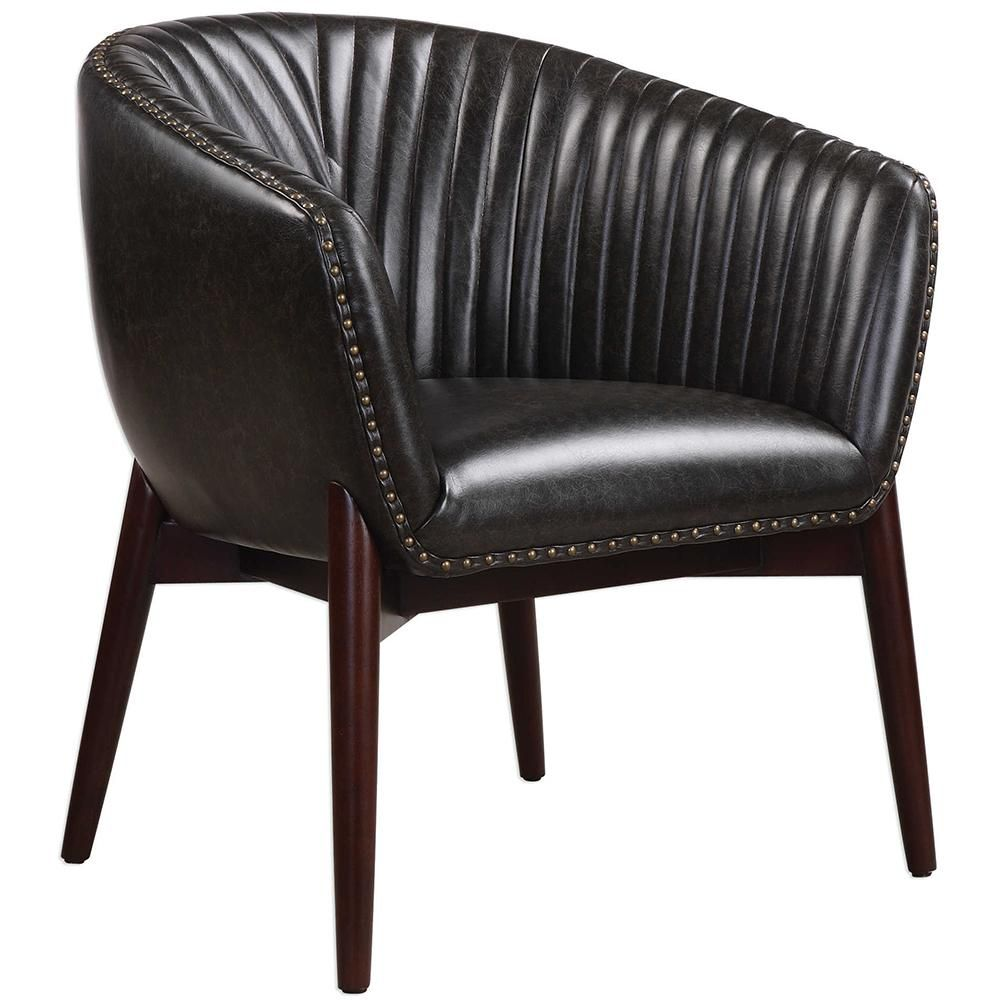 Best Modern Black Faux Leather Accent Chair With Nail Head Trim 400 x 300