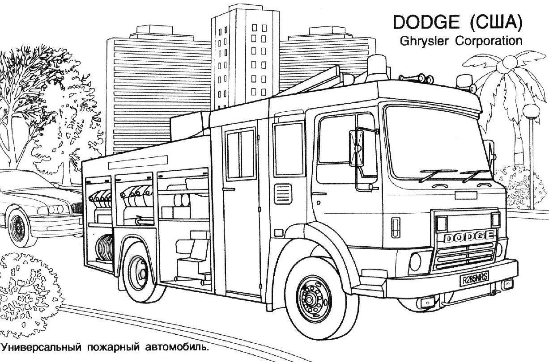 Coloriages camion de pompier dessincoloriage coloriage - Dessiner un camion de pompier ...