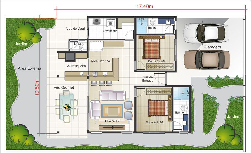 Planta de casa t rrea r stica planta pronta casinha for Casa moderna 90m2