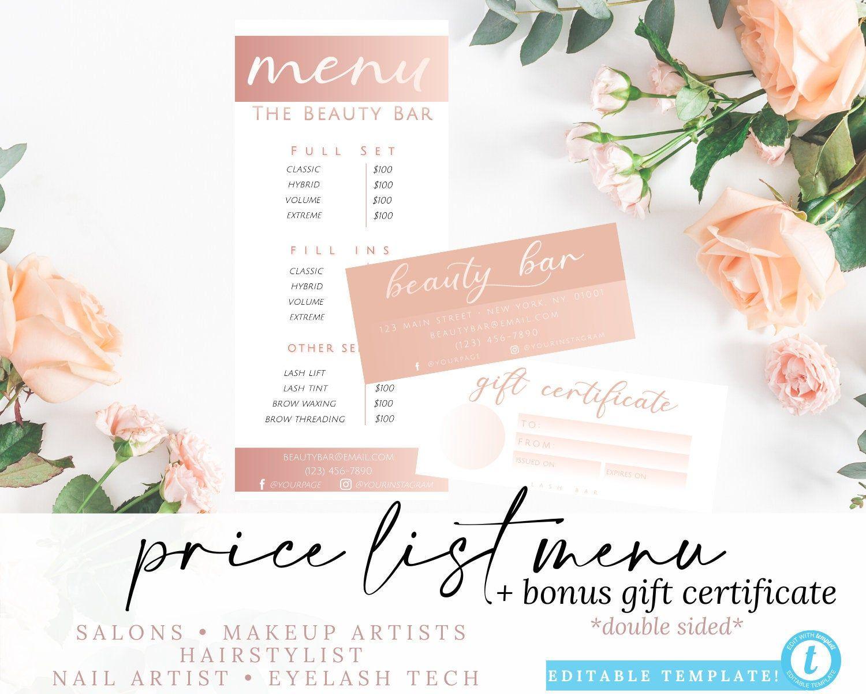 Editable Salon Menu, Gift Certificate Price List