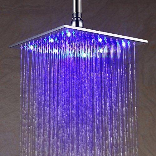 Modern 16 Inch 40x40cm Led Stainless Steel Rain Shower Head