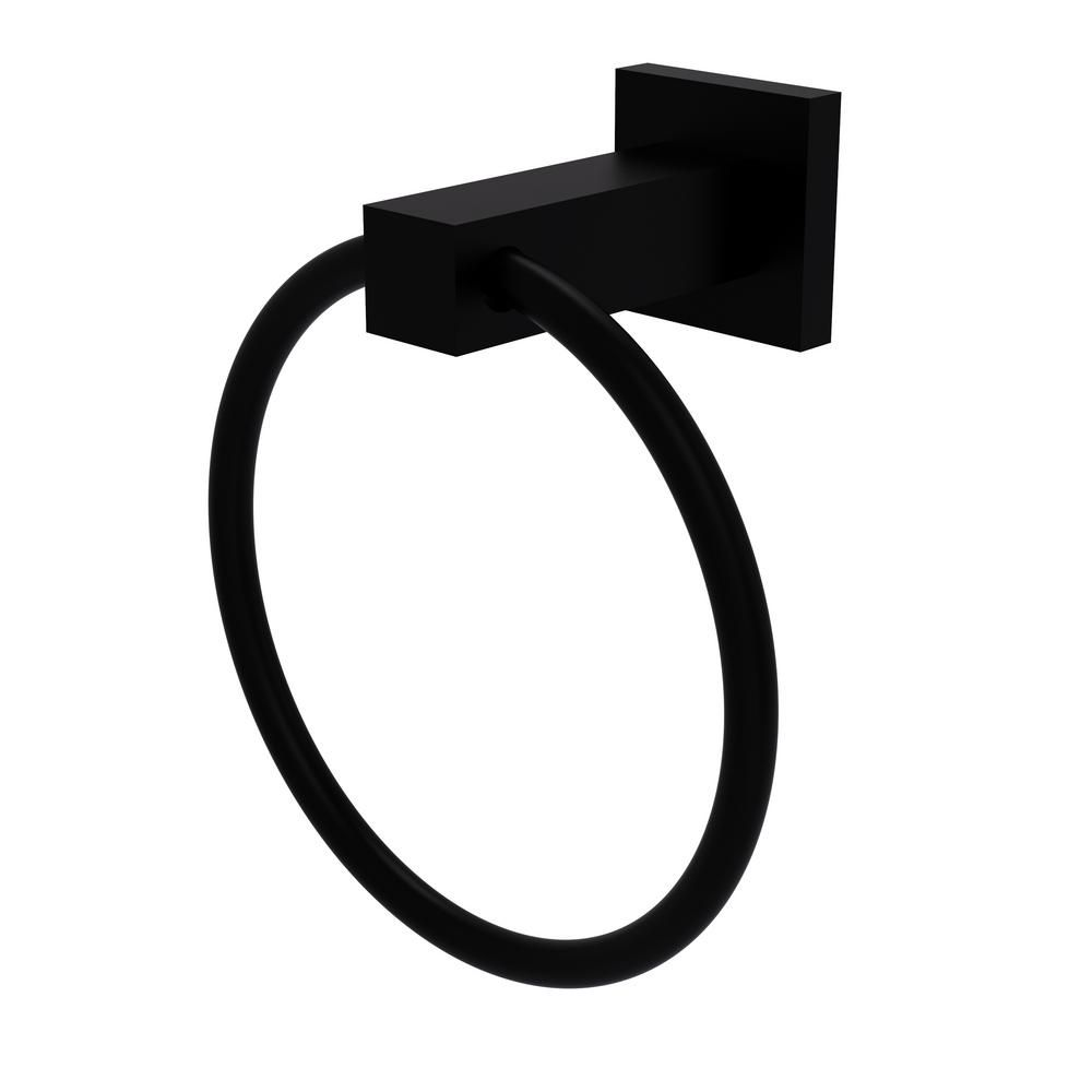 Allied Brass Montero Collection Towel Ring In Matte Black Mt 16 Bkm Allied Brass Towel Rings Recessed Toilet Paper Holder