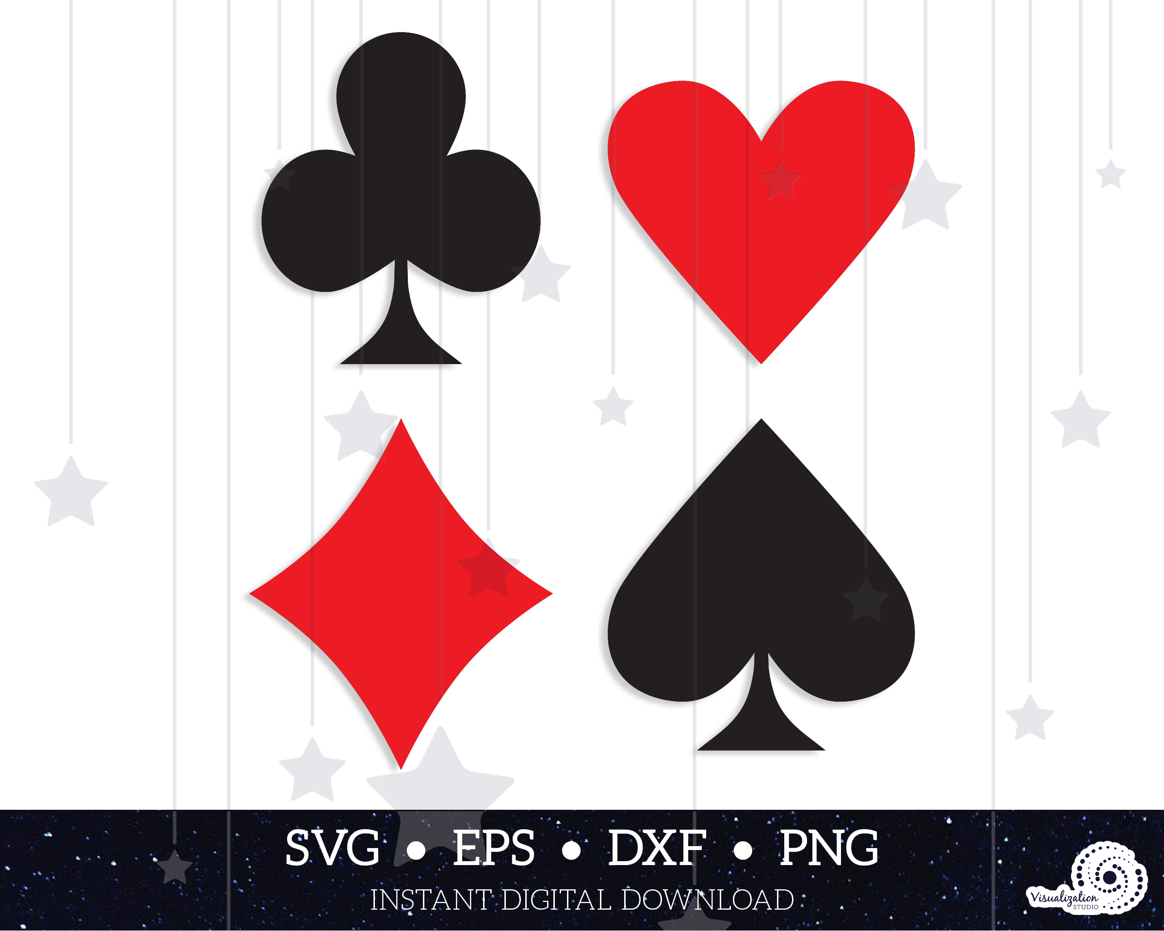 Playing Card Suits Vector Set Instant Digital Download Etsy Digital Download Etsy Playing Cards Cards