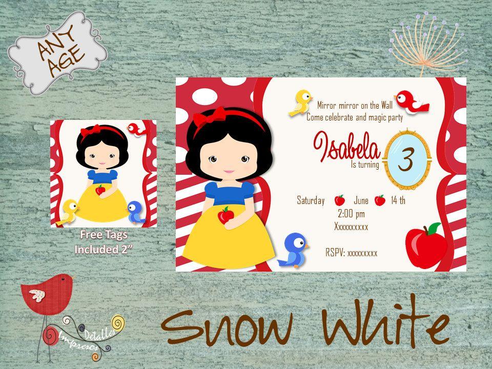 Snow White Invitation Princess Snow White Party Invitation – Snow White Party Invitations