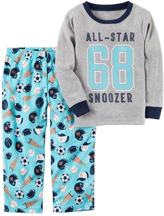 7a6f55b25 Boys 4-12 Carter s Sports Fleece 2-Piece Pajama Set