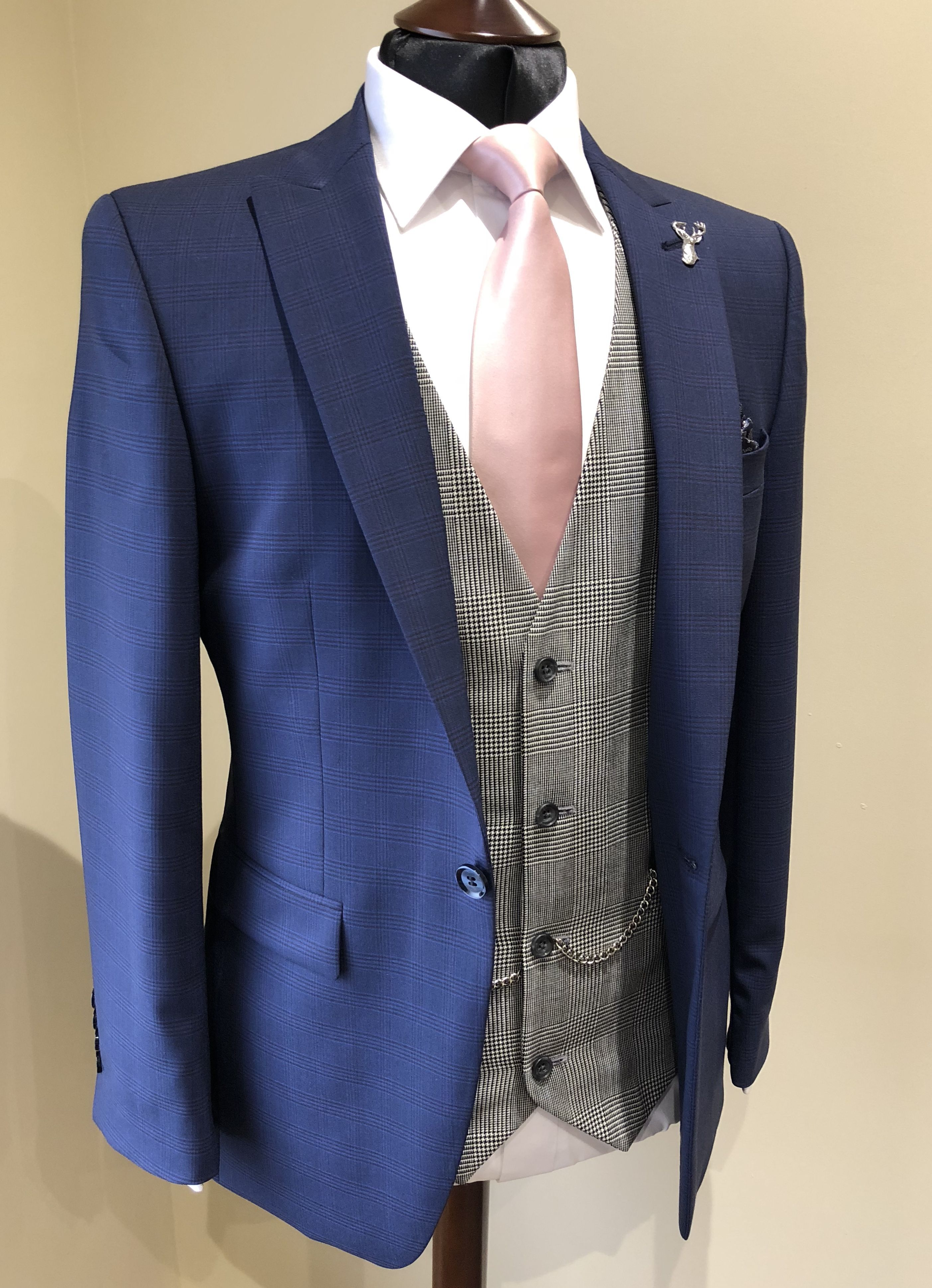 0c8b22f16a0 Slim fit blue check wedding suit